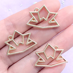 Samurai Helmet Origami Open Bezel Pendant | Kabuto Charm | Japanese Culture Deco Frame for UV Resin Filling (3 pcs / Gold / 25mm x 18mm)