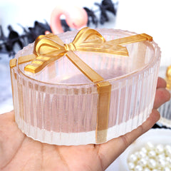 Fluted Oval Trinket Box with Ribbon Silicone Mold | Crystal Jewelry Box Making | Kawaii Resin Craft Supplies (95mm)
