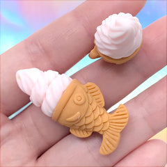 Miniature Taiyaki Fish Ice Cream Cabochons | Dollhouse Sweet Deco | Kawaii Food Jewellery DIY (2 pcs / Strawberry Light Pink / 17mm x 39mm)