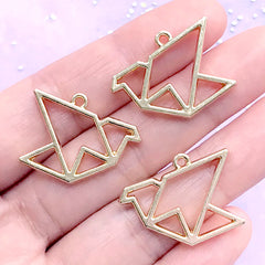 Crane Origami Open Bezel Charm | Paper Crane Open Frame for UV Resin Filling | Resin Jewellery Making (3 pcs / Gold / 26mm x 22mm)
