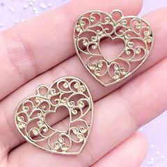 Heart Openwork Charm | Filigree Open Back Bezel Pendant | Deco Frame for UV Resin Jewellery Making (2 pcs / Gold / 25mm x 23mm)