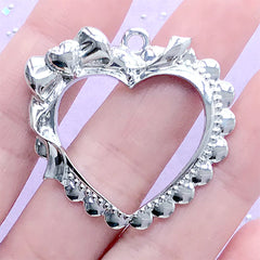 Lace Heart with Ribbon Open Bezel Pendant | Kawaii Lolita Deco Frame for UV Resin Filling (1 piece / Silver / 38mm x 36mm)