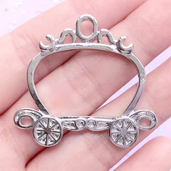 Cinderella Open Bezel Charm | Pumpkin Carriage Deco Frame for UV Resin Filling | Princess Jewelry Supplies (1 piece / Silver / 40mm x 37mm)