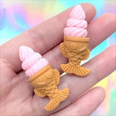 Ice Cream with Taiyaki Cone Cabochons | Doll Food Supplies | Kawaii Miniature Sweet Deco (2 pcs / Strawberry Pink / 17mm x 39mm)