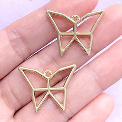 Butterfly Origami Open Bezel for UV Resin Filling | Butterfly Open Frame | Resin Jewelry Supplies (2 pcs / Gold / 26mm x 20mm)