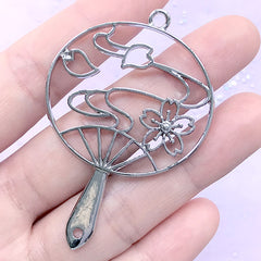 Sakura Hand Fan Open Bezel Charm | Cherry Blossom Handheld Fan Pendant | UV Resin Jewelry Supplies (1 piece / Silver / 40mm x 58mm)