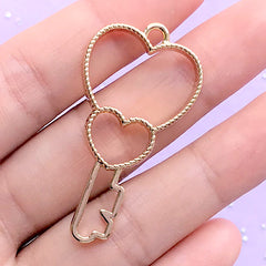 Heart Key Open Backed Bezel Charm for UV Resin Filling | Kawaii Deco Frame | Cute Door Key Pendant (1 piece / Gold / 23mm x 44mm)