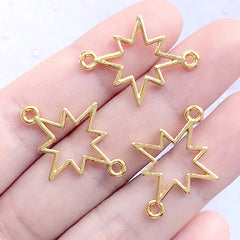 Star Open Bezel Connector Charm | Deco Frame for UV Resin Filling | Kawaii Jewellery Supplies (3 pcs / Gold / 26mm x 19mm)