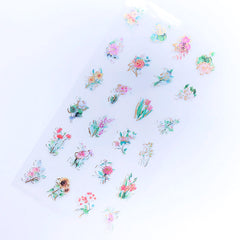 Floral Stickers with Gold Foil | Colorful Flower Sticker | Plant Clear Film for Resin Art