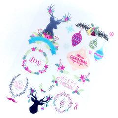 CLEARANCE Christmas Wreath and Reindeer Clear Film Sheet for UV Resin Art Deco | Festive Season Embellishments | UV Resin Jewellery DIY