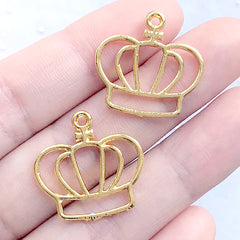 Crown Open Backed Bezel Charm | Cute Deco Frame for UV Resin Filling | Kawaii Jewelry DIY (2 pcs / Gold / 22mm x 22mm)