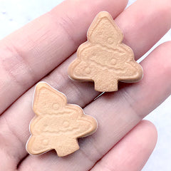 Christmas Tree Cookie Cabochon | Fake Biscuit Embellishments | Sweet Decoden | Kawaii Food Jewellery DIY (2 pcs / 23mm x 24mm)