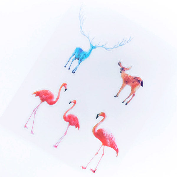 Flamingo and Deer Sticker | Clear Animal and Bird Stickers | Planner Sticker | Kawaii Resin Craft Supplies