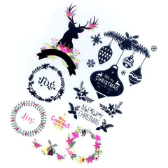 CLEARANCE Christmas Ornament and Wreath Clear Film Sheet for UV Resin Craft | Holiday Season Embellishments | Resin Jewellery Making