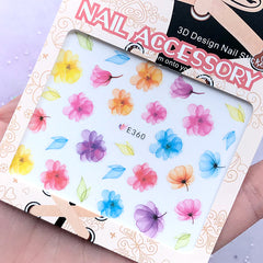 Colorful Floral Sticker in Watercolor Style | Flower Embellishments for Nail Art | Resin Inclusions
