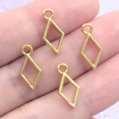 Mini Rhombus Deco Frame for UV Resin Filling | Tiny Geometry Open Bezel Charm | Resin Craft Supplies (4 pcs / Gold / 7mm x 15mm)