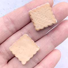 Square Biscuit Cabochons | Fake Cookie Embellishments | Sweet Deco | Kawaii Decoden Supplies | Faux Food Jewelry DIY (2 pcs / 19mm)