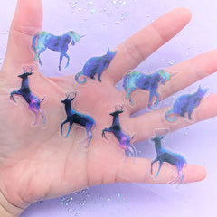 Magical Animal Sticker in Galaxy Gradient Color | Unicorn Cat Deer Clear Stickers | UV Resin Art Supplies