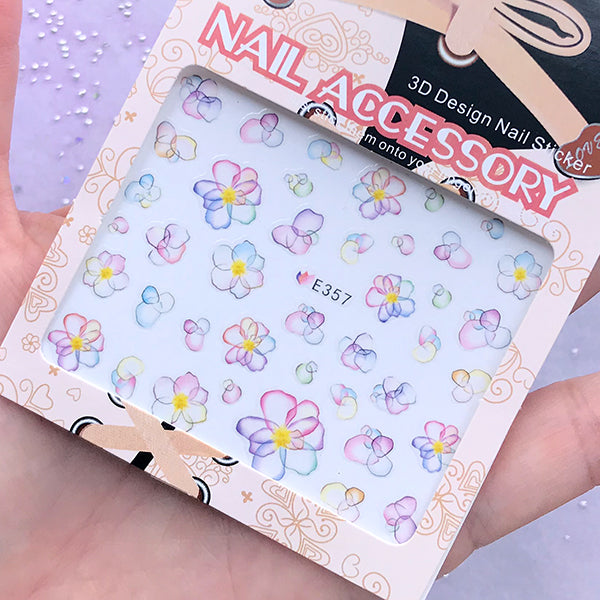 Watercolor Flower Sticker | Resin Inclusions | Flower Embellishments for Nail Decoration | Resin Art Supplies