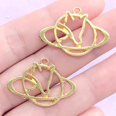 Fox Planet Saturn Open Back Bezel Charm | Kawaii Deco Frame for UV Resin Filling | Resin Jewelry DIY (2 pcs / Gold / 29mm x 20mm)