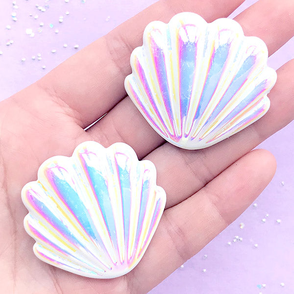 AB White Aura Seashell Cabochon | Iridescent Resin Cabochons | Mermaid Decorations (2 pcs / White / 40mm x 38mm)