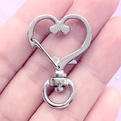 Silver Heart Snap Clasp with Swivel Ring | Cute Lanyard Hook | Kawaii Lobster Clip | Jewelry Findings (1 piece / Silver / 24mm x 35mm)