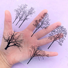Bold Tree Stickers | Forest Plant Embellishment for Resin Art | Clear PVC Sticker for Journal Decoration | Scrapbook Supplies