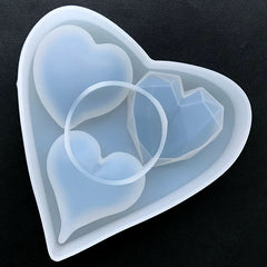 Faceted Heart and Puffy Heart Silicone Mold Assortment (3 Cavity) | Big Heart Mold | Resin Cabochon Making | Epoxy Resin Art Supplies