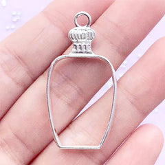 Vintage Perfume Bottle Open Bezel | Eau de Parfum Deco Frame for UV Resin Filling | Kawaii Resin Jewelry Supplies (1 piece / Silver / 21mm x 41mm)
