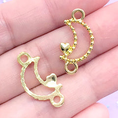 Beaded Moon with Heart Open Bezel Connector Charm | Deco Frame For UV Resin Filling | Magical Girl Jewelry DIY (4 pcs / Gold / 12mm x 23mm)