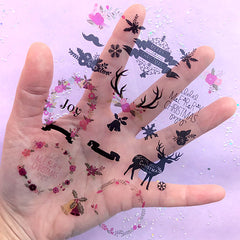 Christmas Decoration Item Clear Film Sheet | Flower Wreath Reindeer Embellishments | UV Resin Jewellery DIY