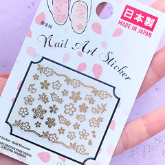 Gold Sakura Stickers | Cherry Blossom Embellishments for Resin Craft | Nail Art Supplies | Floral Nail Designs