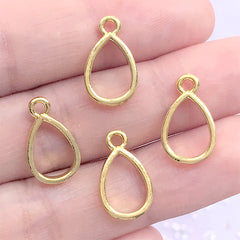 Mini Teardrop Open Bezel Charm for UV Resin Filling | Small Geometric Deco Frame for Resin Jewellery DIY (4 pcs / Gold / 9mm x 15mm)