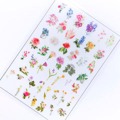 Retro Flower Drawing Clear Film Sheet for Resin Craft | Colourful Floral Resin Inclusions | UV Resin Jewellery DIY