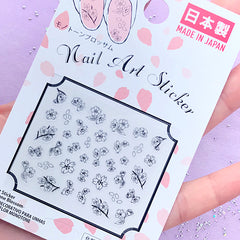 Cherry Blossom Drawing Stickers for Nail Art | Sakura Embellishments for Resin Crafts | Floral Nail Decorations