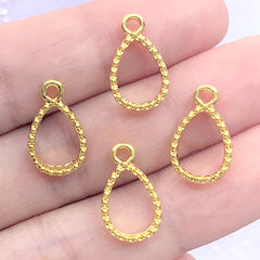 Small Teardrop Deco Frame with Beaded Border | Mini Geometric Open Bezel for UV Resin Filling | Kawaii Jewelry DIY (4 pcs / Gold / 9mm x 15mm)