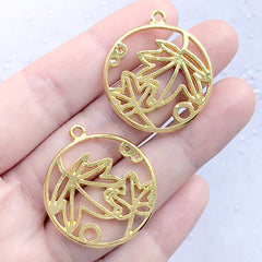 Maple Leaf Circle Open Bezel Pendant | Round Floral Deco Frame for UV Resin Filling | Resin Jewelry Supplies (2 pcs / Gold / 28mm x 32mm)