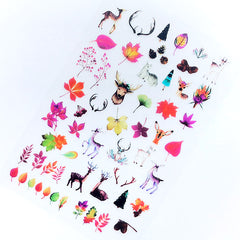 Reindeer and Autumn Leaves Clear Film Sheet | Forrest Animal and Nature Embellishments for Resin Art Decoration