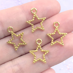 Beaded Star Open Bezel Charm | Cute Deco Frame for UV Resin Filling | Kawaii Resin Jewellery Supplies (4 pcs / Gold / 12mm x 15mm)