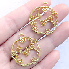 Sakura Branch Circle Open Back Bezel Charm | Round Cherry Blossom Deco Frame of UV Resin Filling | Floral Pendant (2 pcs / Gold / 25mm x 28mm)