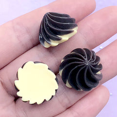 Whip Cream Cabochons | Fake Sweet Deco | Phone Case Decoden Supplies | Kawaii Jewelry DIY (3 pcs / Brown / 20mm x 13mm)