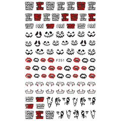 Skeleton Skull Face Vampire Teeth Stickers | Halloween Nail Decorations | Horror Embellishments for Resin Art