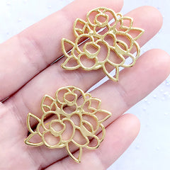 Rose Bouquet Open Back Bezel Charm | Floral Deco Frame for UV Resin Filling | Flower Pendant (2 pcs / Gold / 31mm x 27mm)