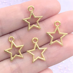Tiny Star Open Bezel Charm for UV Resin Filling | Kawaii Deco Frame for Resin Jewelry Making (4 pcs / Gold / 12mm x 15mm)
