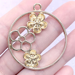 Plum Blossom Circle Open Bezel Pendant | Flower Charm | Round Floral Deco Frame for UV Resin Filling (1 piece / Gold / 40mm x 44mm)