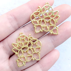 Cotton Bouquet Open Bezel Pendant | Flower Deco Frame for UV Resin Filling | Resin Jewelry Supplies (2 pcs / Gold / 25mm x 28mm)