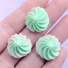 Frosting Cabochons | Whip Cream Embellishments | Fake Food Decoden | Phone Case Decoration (3 pcs / Green / 20mm x 13mm)