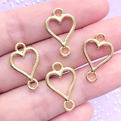 Heart Suit Open Back Bezel Connector Charm | Poker Card Deco Frame for UV Resin Craft | Kawaii Jewellery DIY (4 pcs / Gold / 13mm x 21mm)