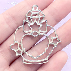 Eau de Parfum Open Bezel | Perfume Bottle Charm | Kawaii Deco Frame for UV Resin Filling | Cute Jewellery Supplies (1 piece / Silver / 37mm x 44mm)
