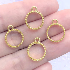 Tiny Circle Deco Frame with Beaded Border | Mini Geometry Open Bezel for UV Resin Filling | Kawaii Jewellery DIY (4 pcs / Gold / 12mm x 15mm)